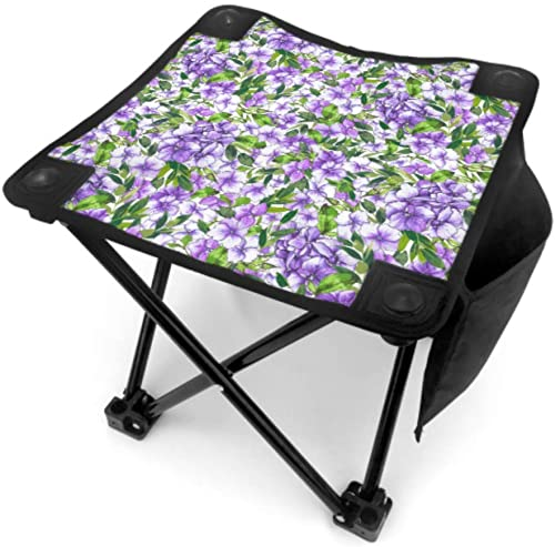 IIAKXNB Folding Stool Chair Outdoor Portable Puple Retro Beautiful Hydrangea Lightweight Fishing Chairs Folding for Camping Fishing Hiking Traveling with Carry Bag