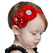 Miugle Baby Red Headbands Rhinestone Hair Bows Girls Hair Band Turban Head Wraps