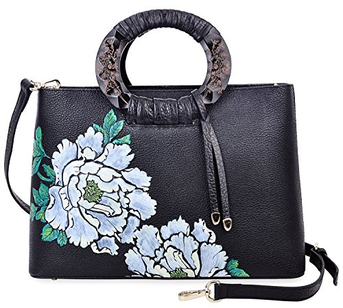 Pijushi Floral Handbags and Purses Designer Leather Tote Handbag for Women Top Handle 6016 (One Size, Peony Floral-Black/Lemon yellow) by PIJUSHI