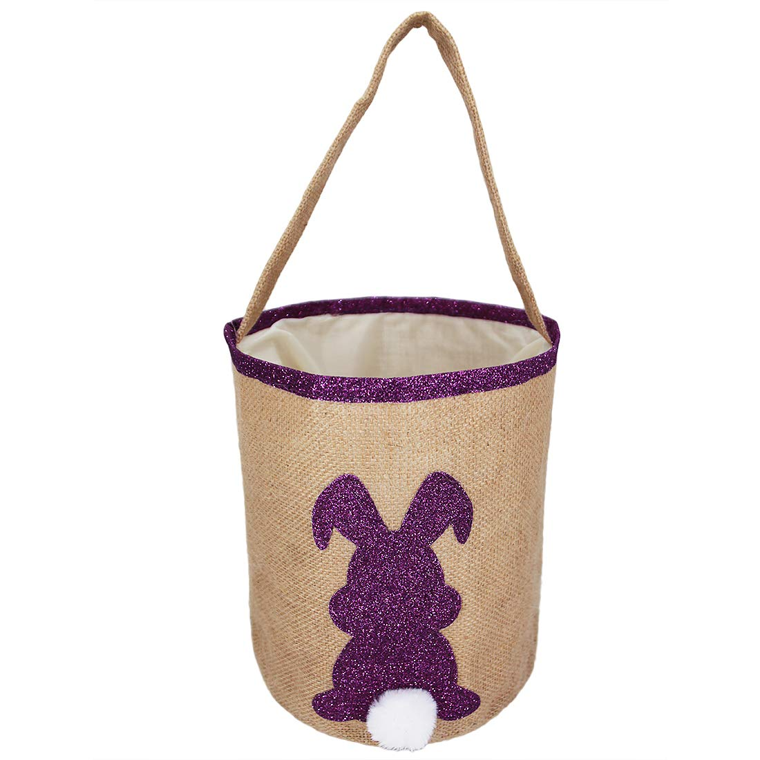 Easter Bunny Egg Basket for Kids Fluffy Rabbit Baskets with Cross-Stitch Line and Rabbit Headband Canvas Gift Bag Round Tote Jute Bags for Embroidery DIY Daily Use Purple FH021PR