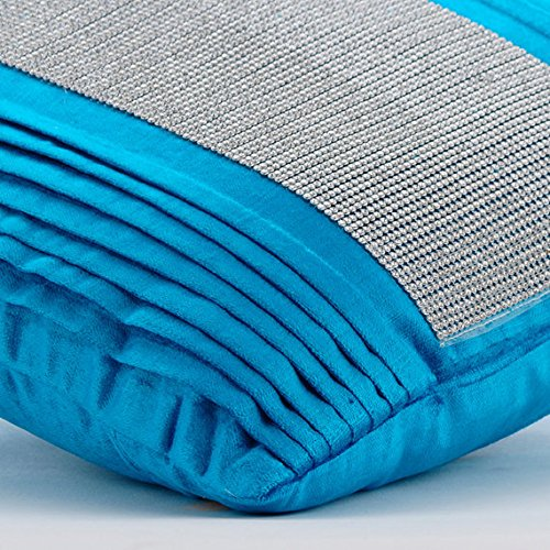 Designer Blue Euro Shams, 26''x26'' Euro Sham, Crystals & Pintucks Bling Euro Pillow Shams, Velvet Euro Shams, Striped Modern Euro Shams - Diamante Dance