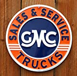 GMC Trucks Sales and Service Round Tin Sign