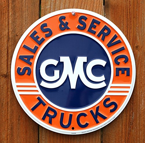 GMC Trucks Sales and Service Round Tin Sign Dixie Trucks