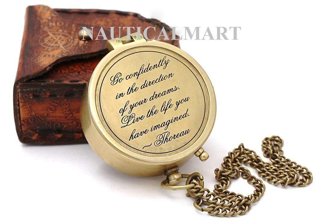 NAUTICALMART Messing 5,1 cm Kompass mit Leder Fall.