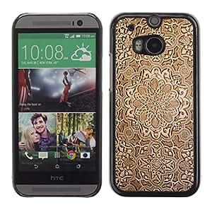 TECHCASE**Cubierta de la caja de protección la piel dura para el ** HTC One M8 ** Wallpaper Wood Carving Brown Design Art