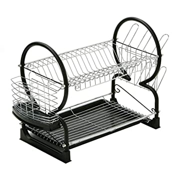St@llion 2 Tier Dish Drainer Rack with Glass Utensil Cutlery Caddy & Drip Tray