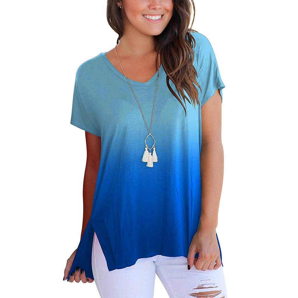 Clearance! Women Short Sleeve Shirt,Ladies V-Neck T-Shirt Gradient Casual Tee Loose Tops Blouse (US:12, Blue A)