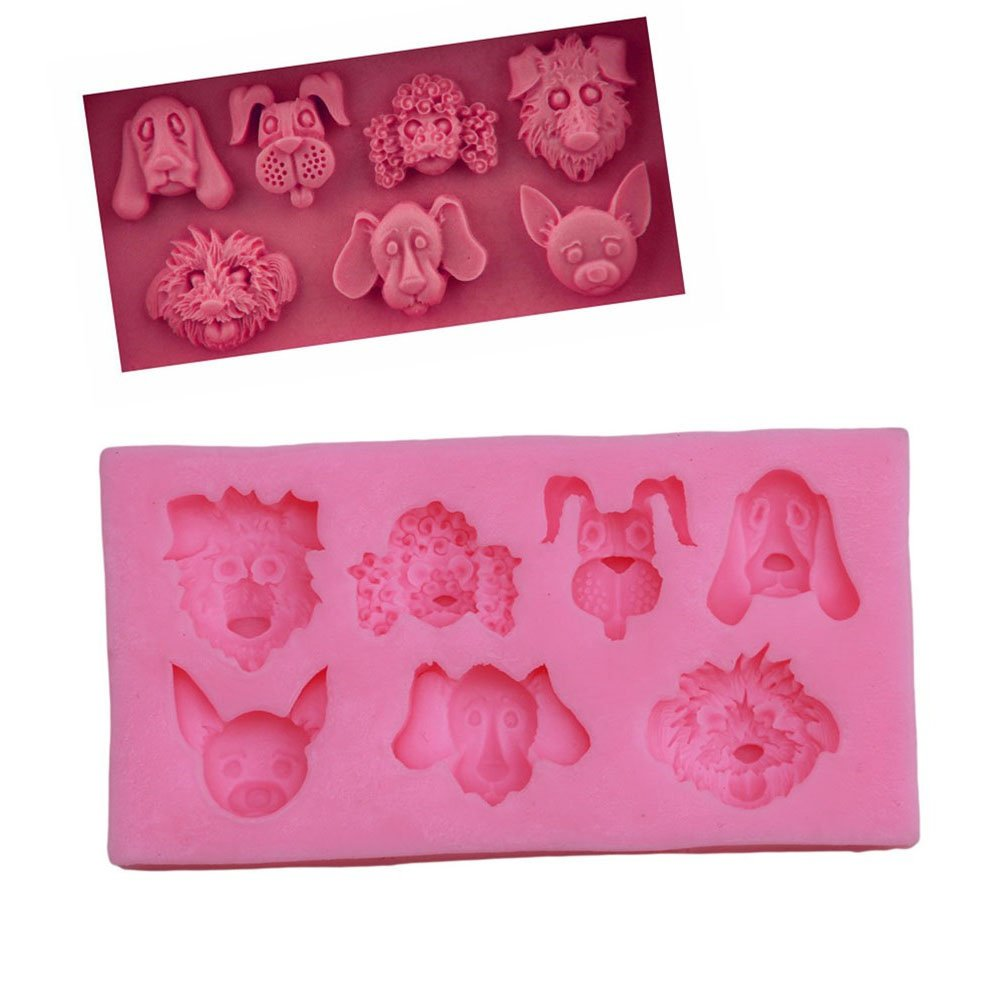 Gluckliy 3D Cute Dog Shape Silicone Mould Chocolate Sugarcraft Fondant Mold Cake Decorating Tools Baking Mould fangqiang