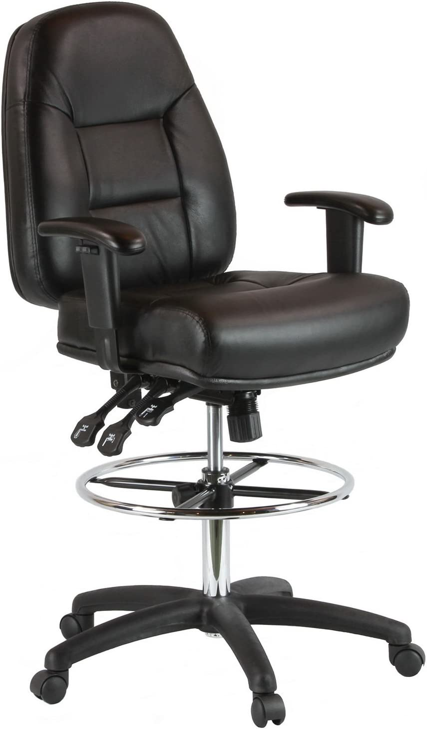 Harwick Premium Leather Drafting Chair with Arms - Black Leather