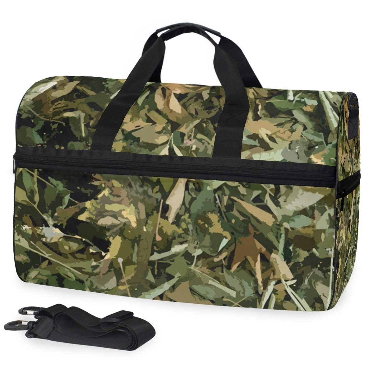 Large Capacity Travel Bag Seamless Pattern Woodland Camo Color Military Duffel Bag Gym Shoe Compartment Sport Tote Bags Handbag