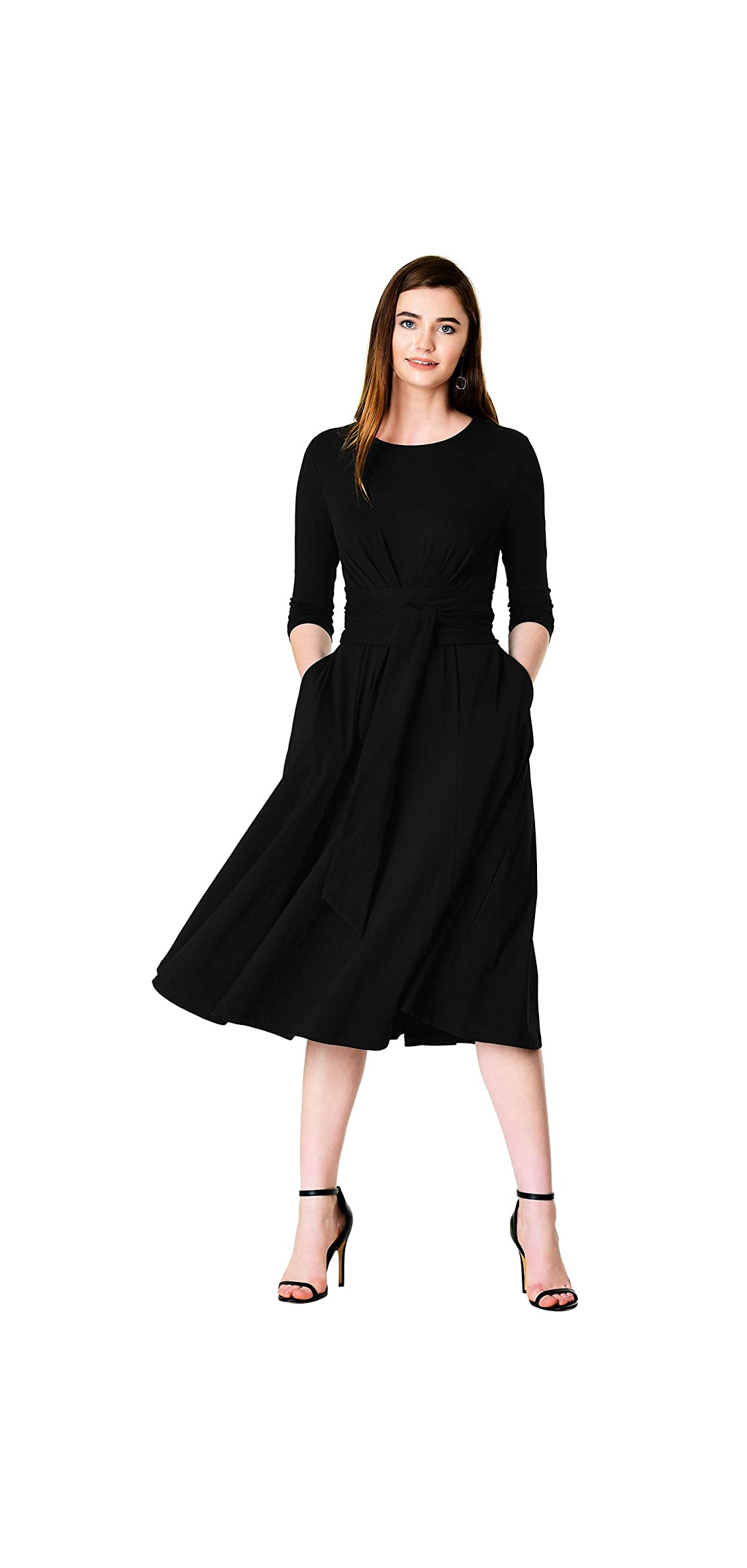 Fx Obi Belt Cotton Jersey Knit Dress Black
