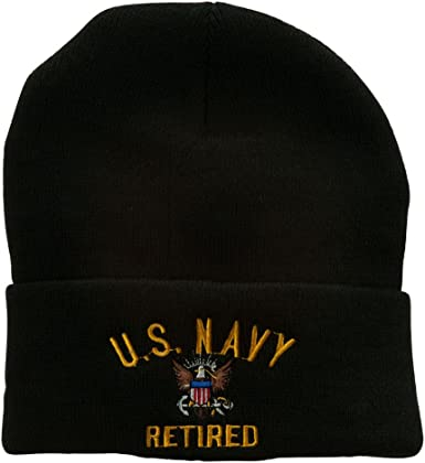 e4Hats.com US Navy Logo Embroidered Long Beanie