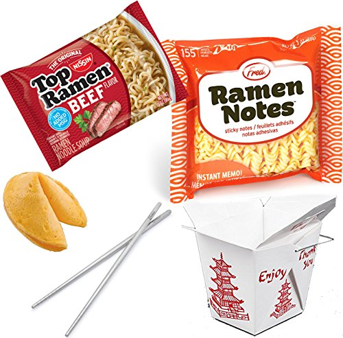 I Love Ramen Premium Pack / Ramen Note Fred Sticky pad / Top Ramen Beef Noodles / Fortune Cookie / Fortessa Dragonfly Modern Chop Sticks Stainless Steel & Snack Container