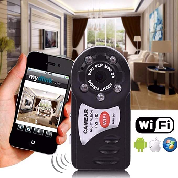 Amazon.com : Original q7 WiFi IP Mini Camera ir Night Vision p2p Wireless Micro cam Remote Control Video espia Candid for iPhone Android : Camera & Photo