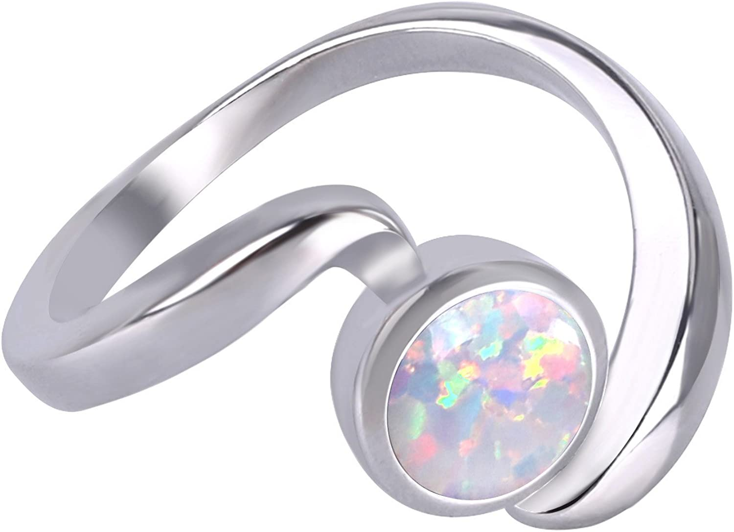 Size 6 to 10 KELITCH Jewelry Lab Created-Opal Twist Rings Valentines Gift for Her