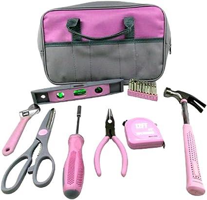 9pc señoras bolsa de herramientas color rosa Set Martillo ...