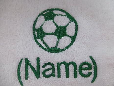 Toalla de baño con diseño de balón de fútbol Logo y tira de nombre de cada ...