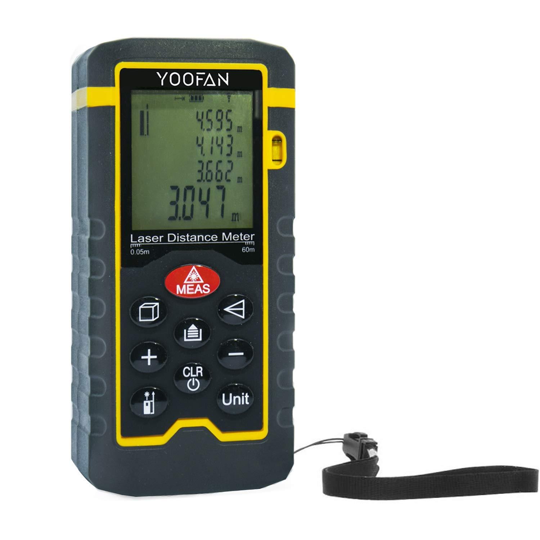 Laser Distance Meter 60m 197ft, YOOFAN Portable Handheld Digital Measure Tool Range Finder (Measuring Range 0.05~60m / ± 2.0mm with LCD Backlight, Dust/Waterproof IP54)