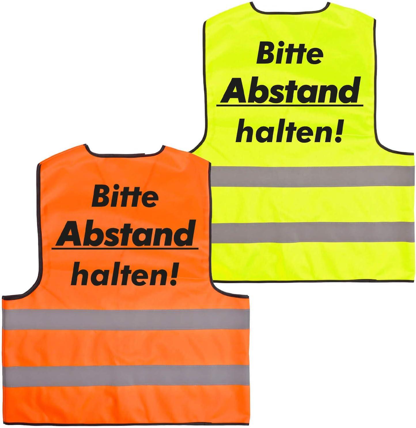 Warnweste /· Halte Abstand /· Funktionsweste Sicherheitsabstand Abstand halten 1,5m 2m Gelb Orange Neon Pr/ävention Kontaktsperre Ausgangssperre Sicherheit /· XL, Orange Druck Schwarz