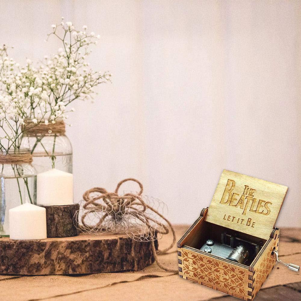handgraviert tolles Geschenk f/ür Geburtstag geschnitzt Leegoal Spieluhr aus Holz Weihnachten Dragon Ball Handkurbel mit Spieluhr Piraten der Karibik