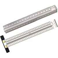 Perfk 2pcs Stainless T Type Hole Ruler Precision Scribing Ruler Carpenter Marke T-Rule