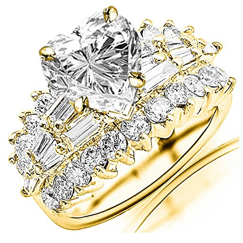 2.9 Carat t.w. GIA Certified Heart Cut 14K Yellow Gold Exquisite Prong Set Bageutte and Round Diamond Engagement Ring (I-J Color VS1-VS2 Clarity Center Stones)