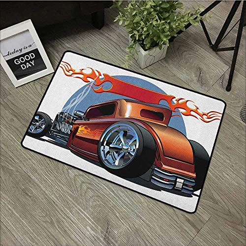 (Learning pad W24 x L35 INCH Cars,Cartoon Hot Rod Antique Customized Classical American Engine Nostalgia Revival, Orange Blue Black Easy to Clean, Easy to fold,Non-Slip Door Mat Carpet)