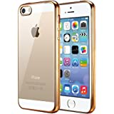 iPhone SE ケース、iPhone5s ケース、TechRise iPhone SE/5sケース クリアケース 透明ケース 衝撃吸収 薄型 軽量-ゴールド