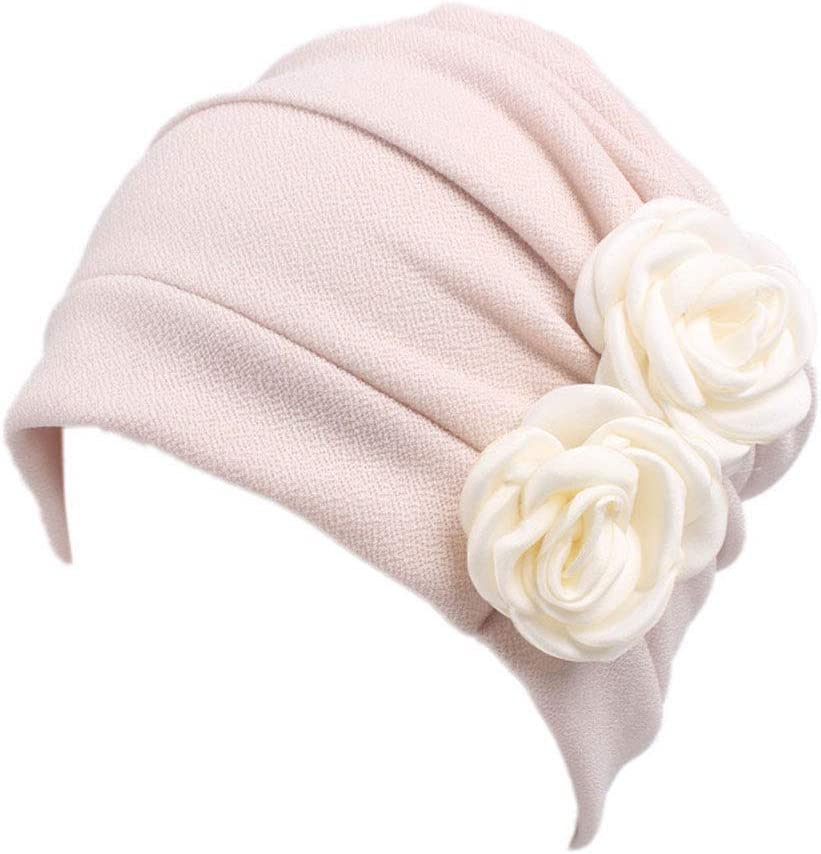 colore casuale beige Lurrose Berretto di chemosella in cotone per donna con cappuccio ondulato e fiore per paziente malato di cancro