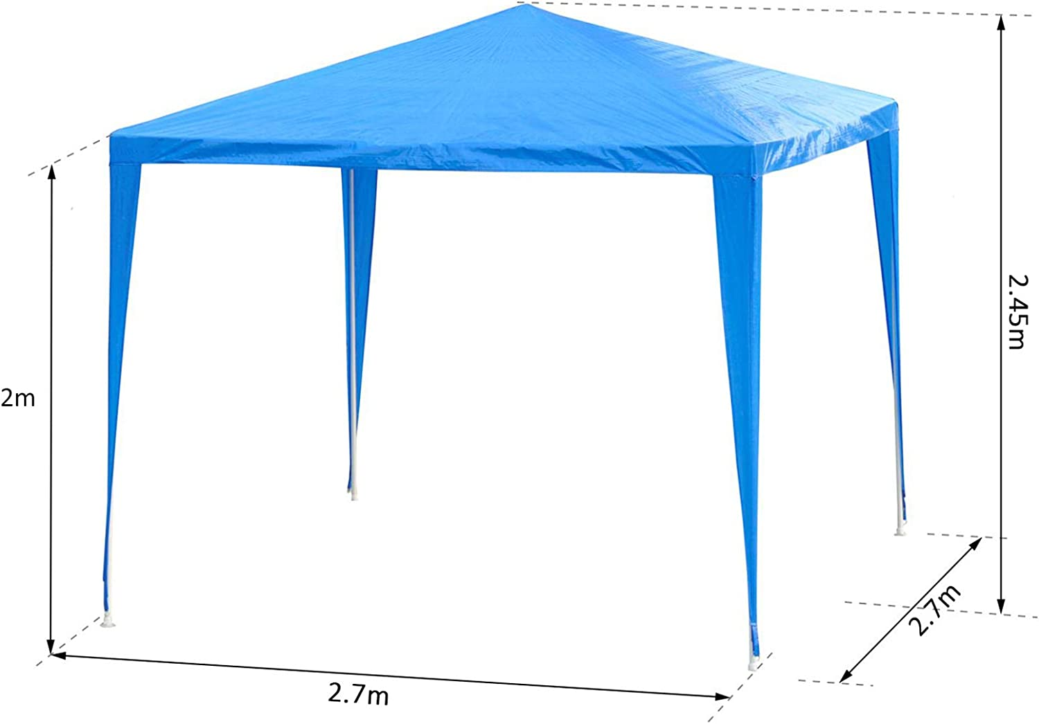 Blue Outsunny 2.7m x 2.7m Garden Heavy Duty Gazebo Marquee Party Tent Wedding Canopy Outdoor