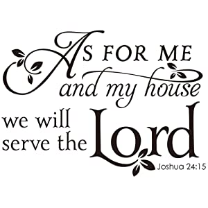 Kilncc Wall Decals Bible Verse Quotes As for Me and My House Joshua Vinyl Wall Stickers Art Saying Pray Words Christian Spiritual Scripture Decor (Black, 23inchx16.5inch)