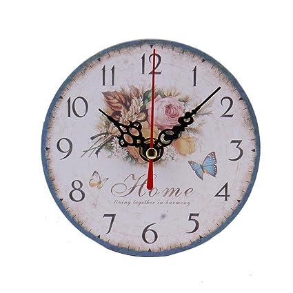 OHQ Retro reloj de pared de salón de madera antigua Non-ticking estilo Sonora silenciosa