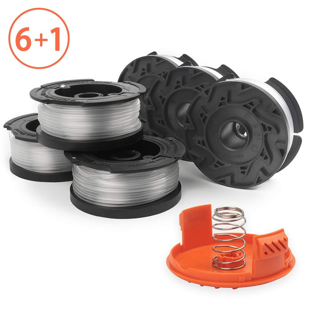 X Home Weed Eater Spools Compatible with Black and Decker AF-100 GH600 GH900 String Trimmer Edger, 30ft 0.065 inch Spool Refills Line Auto-Feed, RC-100-P Spool Cap Covers (6 Spools, 1 Cap,1 Spring) by X Home