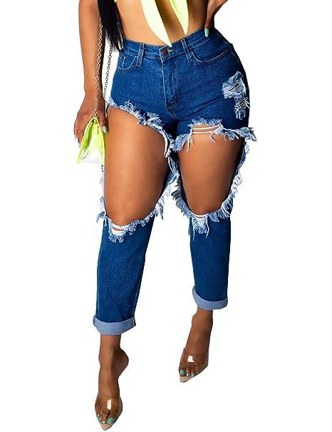 Pantalones Vaqueros De Verano De Mujer Rasgados Skinny De ...