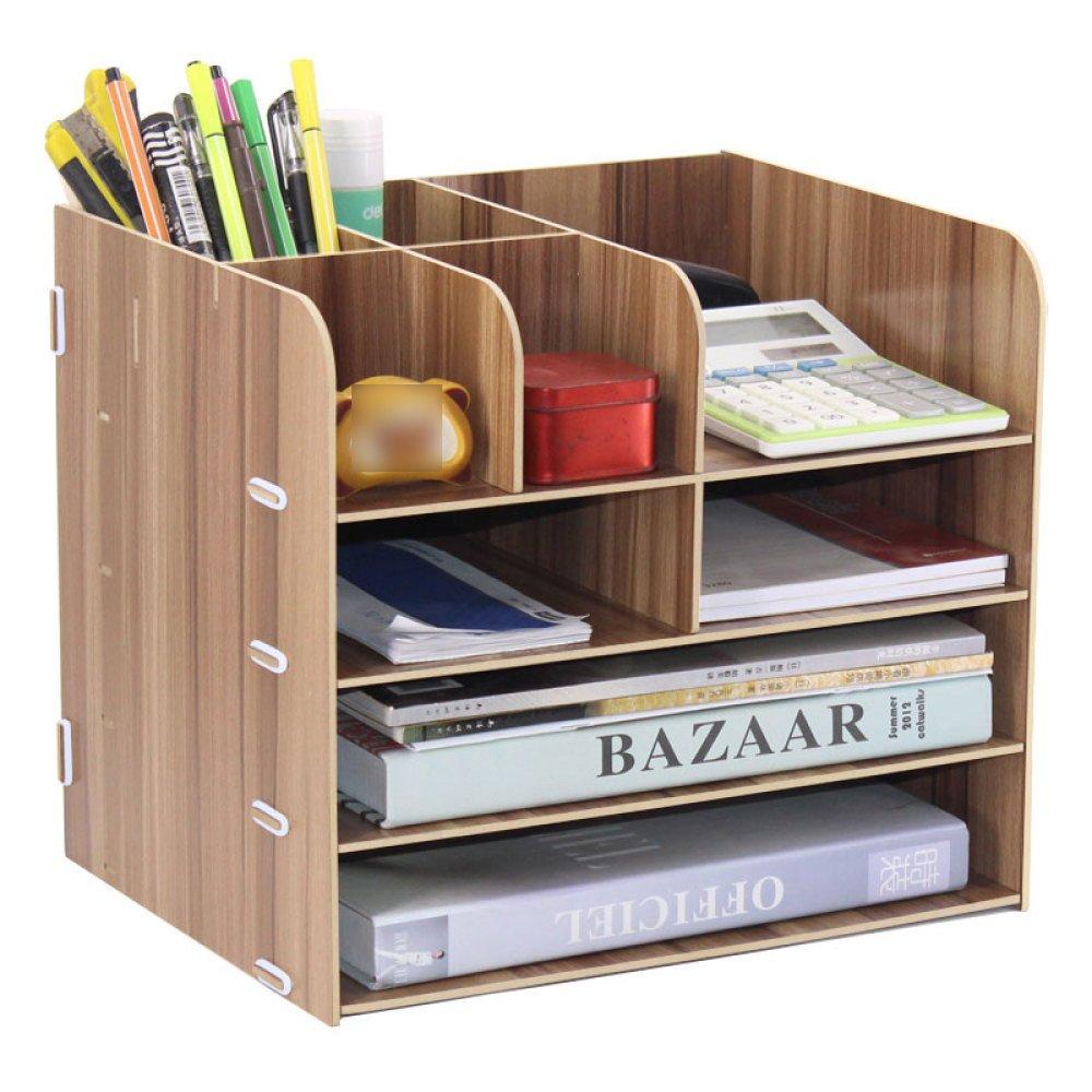 Bookcase Office Supplies Desktop Organizer File Organizer Storage Rack Storage Box,WoodColor by ANHPI-bookcase (Image #3)