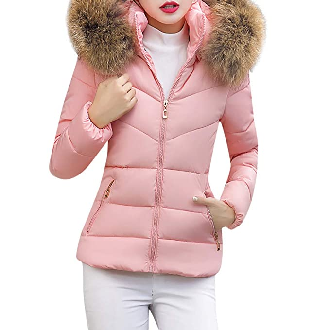 Misaky Womens Fur Coats Casual Winter Thick Outerwear Hooded Short Slim Cotton-Padded Jackets