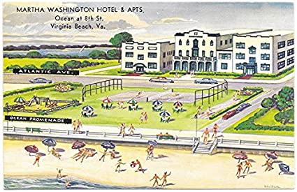 Review Postcard Martha Washington Hotel Apartments in Virginia Beach, Virginia~105332