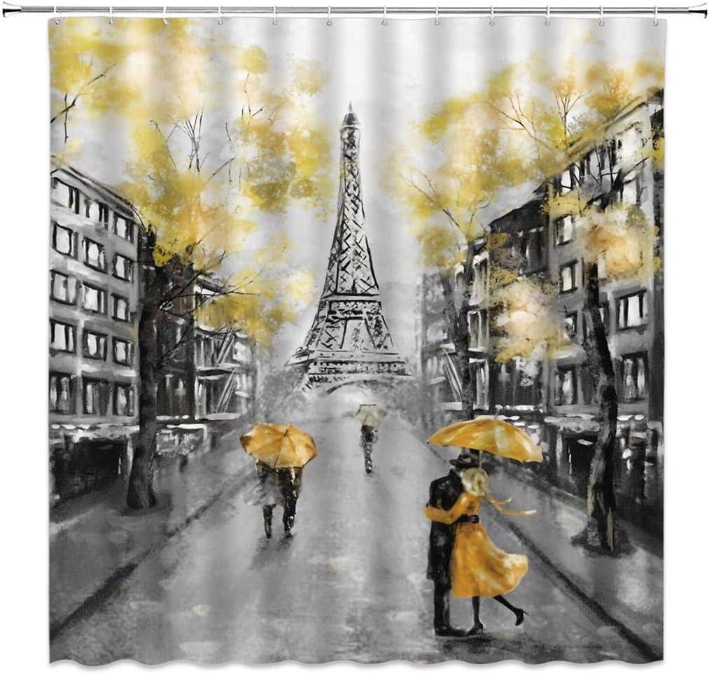 "Oil Painting Paris Shower Curtain Eiffel Tower Red Couple Bath Curtain 71/""x71/"""