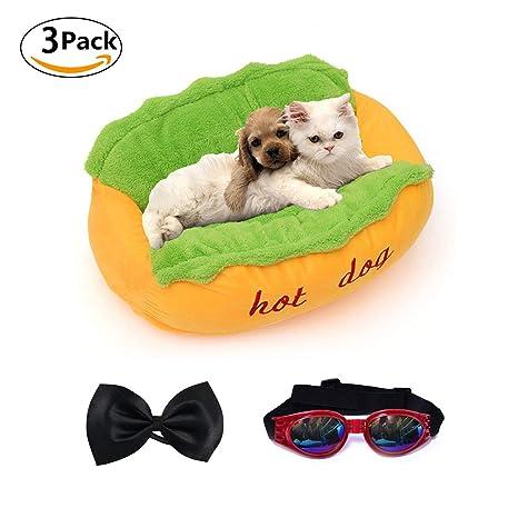 LA VIE Cómodo Cama para Mascotas Forma de Hot-Dog con Cojín Lavable y Base