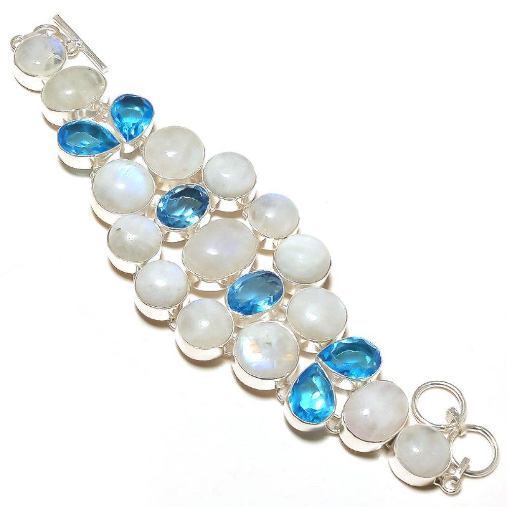 Topaz Quartz Sterling Silver Overlay 62 Grams Bracelet 7-9 Gift Jewelry Rainbow Moonstone