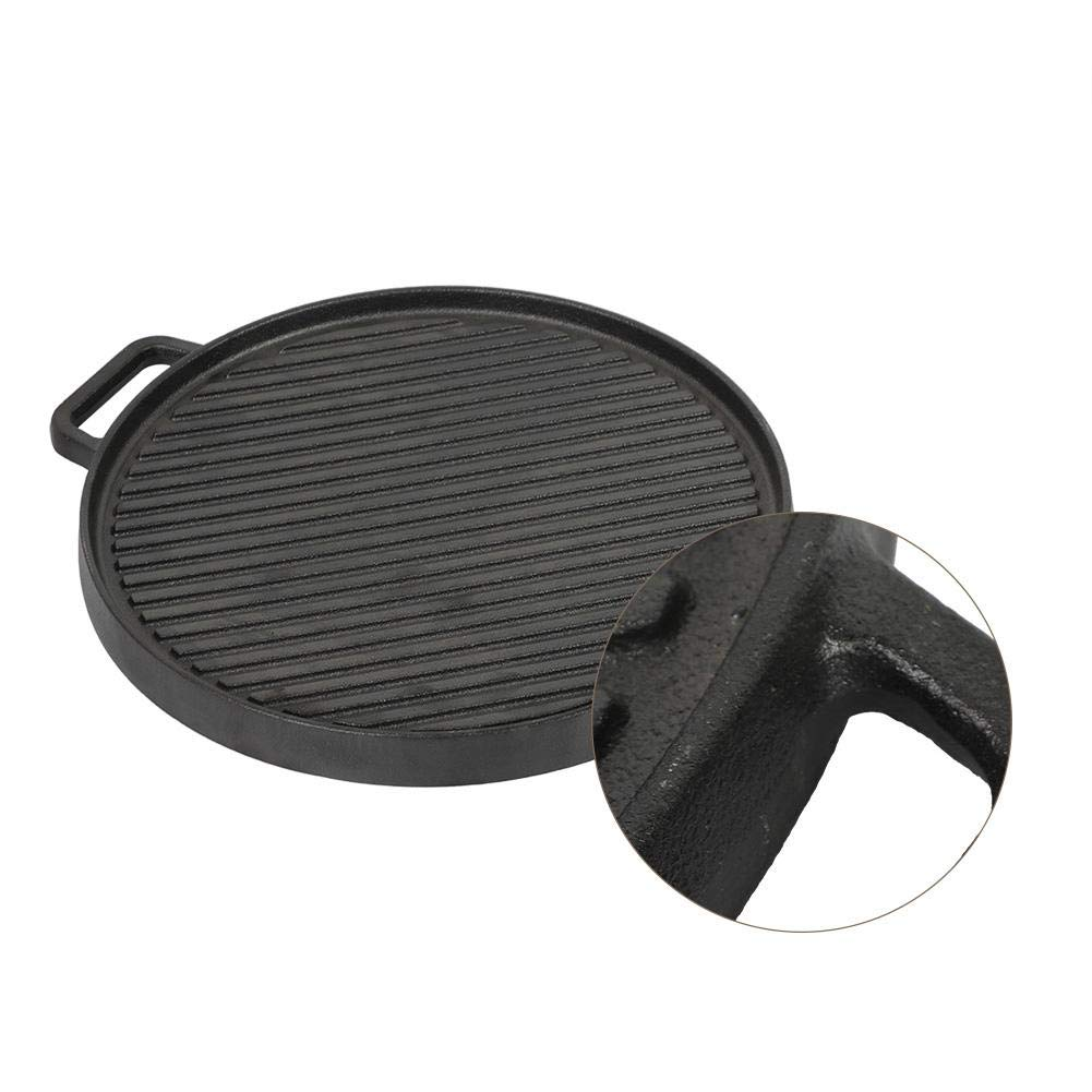 30 Plancha de Hierro Fundido para Barbacoa Placa de Parrilla de Doble Cara Reversible Antiadherente F/ácil de Limpiar 36 2,8cm