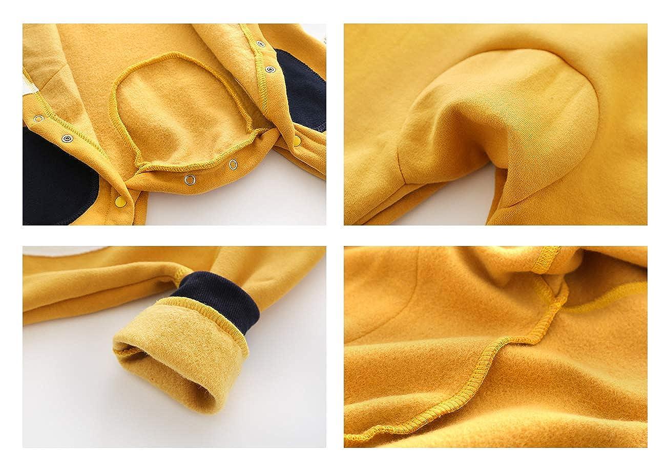 Milkiwai Newborn Baby Fleece Warm Cartoon Cotton Romper Jumpsuit Hood Outerwear