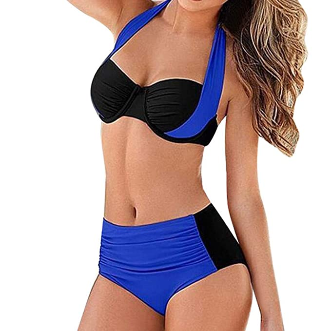 Fannyfuny_ Ropa de Baño Mujer Bikini Trajes de Baño Bikini de Punto Bañador de Correa Cruzada Empalme Ropa de Playa Push-up Bigini de Dos Piezas ...