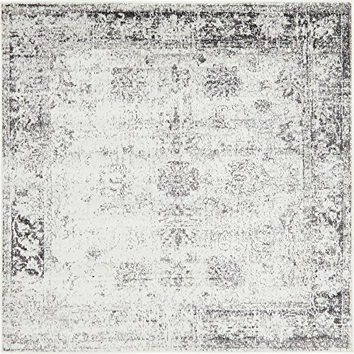 Unique Loom 3141289 Sofia Collection Traditional Vintage Rug, 6' x 6' Square, Gray (Rug Gray Square)
