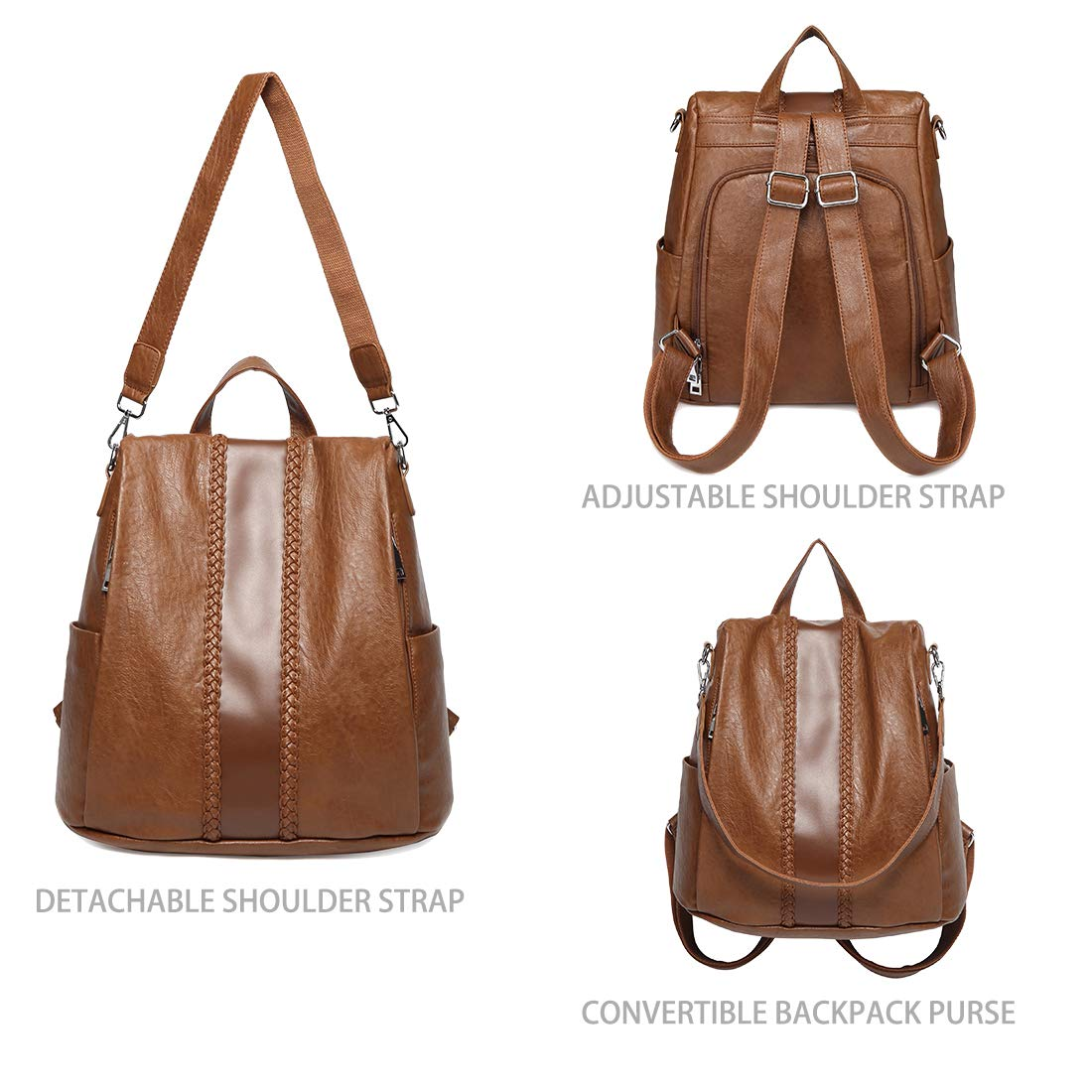 Backpack Purse for Women,VASCHY Fashion Faux Leather Convertible Anti-theft Backpack for Ladies with Vintage Weave Brown by VASCHY (Image #6)