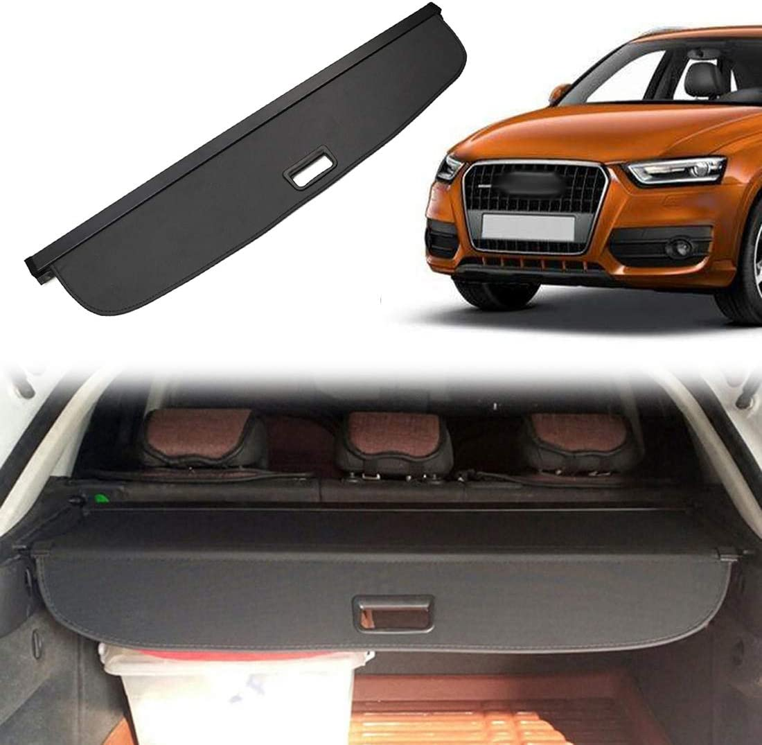 OREALTOOL Black Retractable Cargo Cover Luggage Shade Shield for Audi Q3 2013-2017 Rear Boot Trunk Parcel Load Shelf Shielding Security Panel Roller Blind