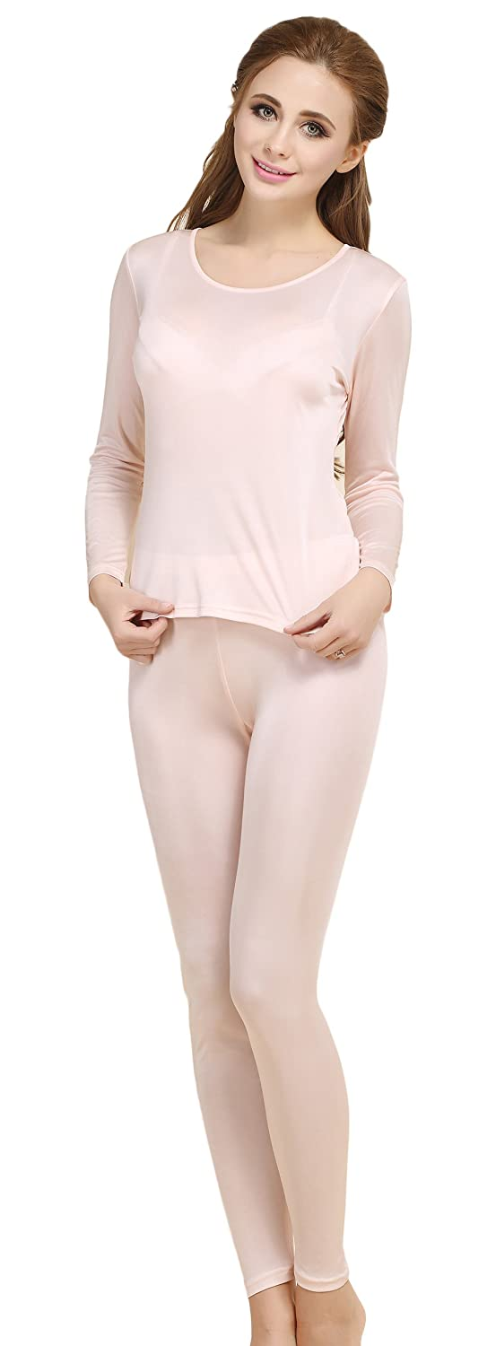 d611f765ca86 Colorful Silk CLC Women s Pure Mulberry Silk Knitted Thermal Underwear Pajama  Set larger image