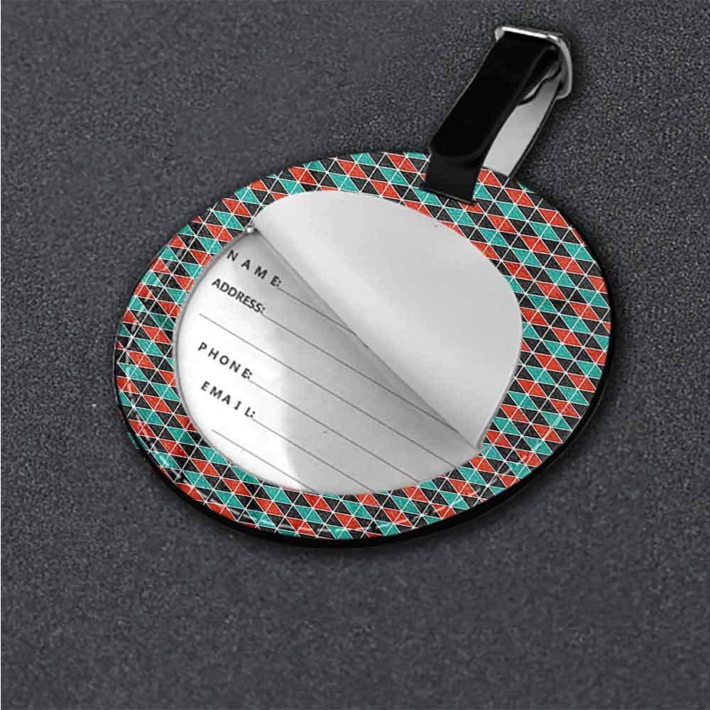 Women Luggage Tag Geometric,Triangle Shapes Modern Portable Label