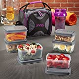 powder mix container - Fit & Fresh Jaxx FitPak Meal Prep Bag and Container Set with 6 Leakproof Portion Control Containers, Ice Pack and 28-ounce Jaxx Shaker Cup, Purple