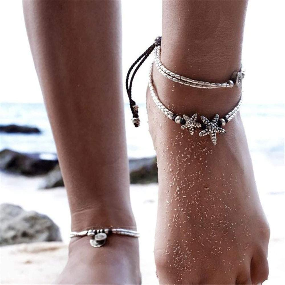 Edary Vintage Starfish Anklet Bead Bracelet Beach Weave Anklet Jewelry for Women and Girls Runes